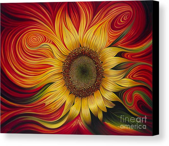 Sunflower Canvas Print featuring the painting Girasol Dinamico by Ricardo Chavez-Mendez