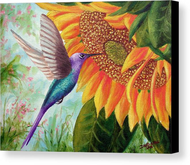 Hummingbird Canvas Print featuring the painting Humming For Nectar by David G Paul