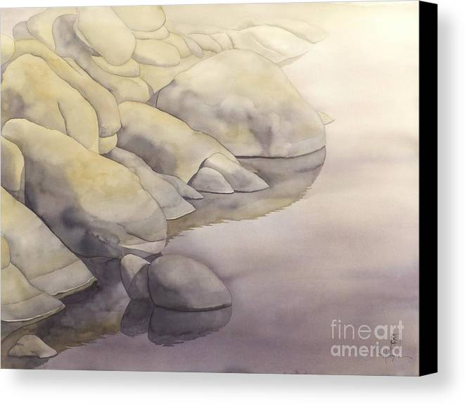 Watercolor Canvas Print featuring the painting Rock Meets Water by Robert Hooper