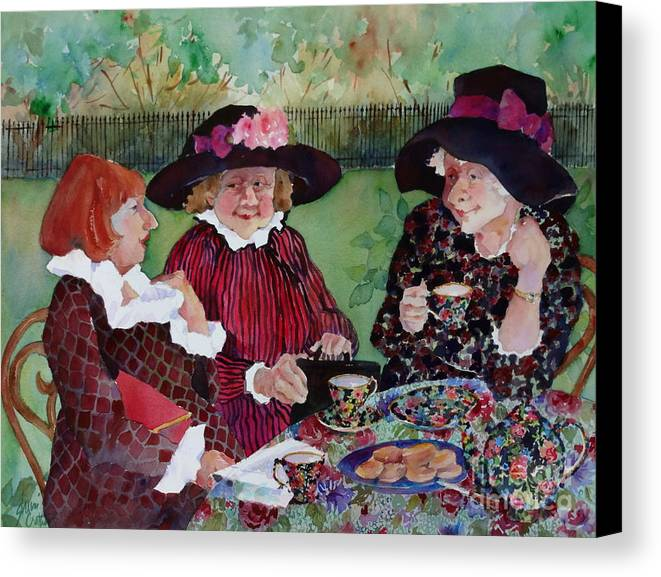 English Chintz China Canvas Print featuring the painting Tea With The Girls by Sherri Crabtree