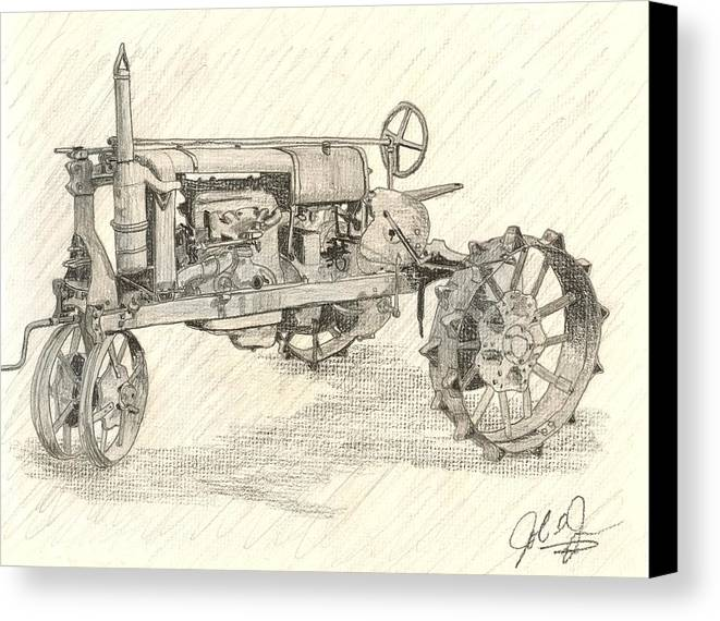 Tractor Canvas Print featuring the drawing The Tractor by John Jones