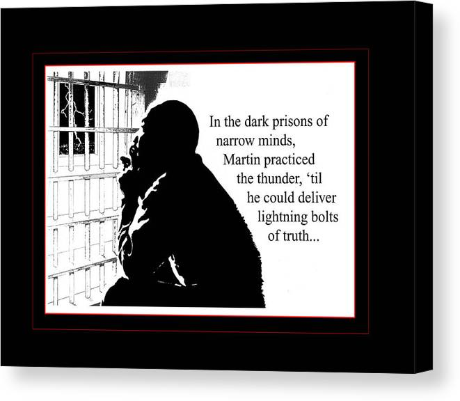 Martin Luther King Canvas Print featuring the digital art Mlk In Jail by Richard Gordon