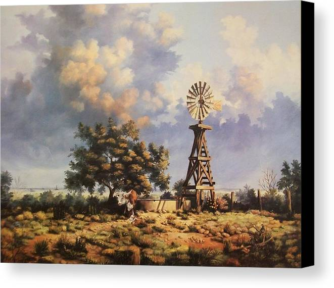 A New Mexico Landscape. Canvas Print featuring the painting Lea County Memories by Wanda Dansereau