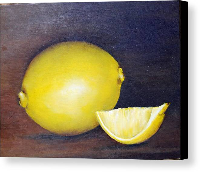 Oil Painting Canvas Print featuring the painting Lemons by Maureen Baker
