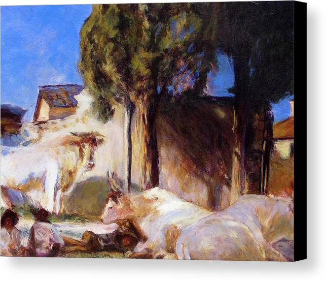 Acrylic Canvas Print featuring the painting Oxen Resting by Chris Neil Smith