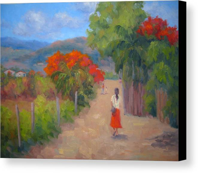 Honduras Canvas Print featuring the painting Senorita In A Red Skirt by Bunny Oliver