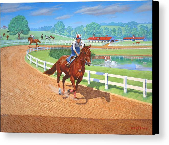 Western Artist Canvas Print featuring the painting Spring Training by Howard Dubois