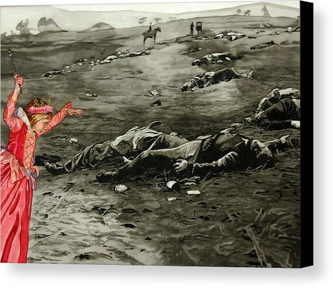 War Canvas Print featuring the painting Too Late by Valerie Patterson