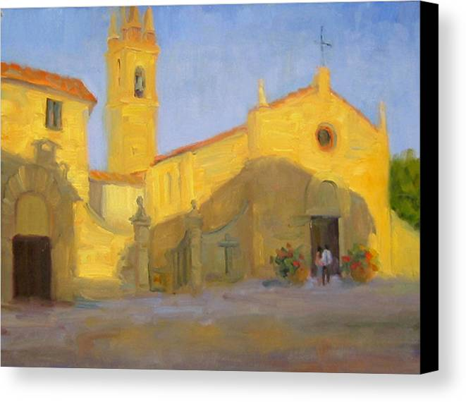 Church Canvas Print featuring the painting Vespers by Bunny Oliver