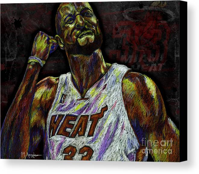 Alonzo Mourning Canvas Print featuring the drawing Zo by Maria Arango