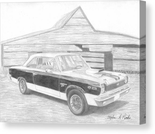 Rooks10904 Drawings Canvas Print featuring the drawing 1969 Amc Hurst Sc/rambler Muscle Car Art Print by Stephen Rooks