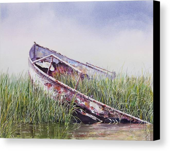 Boat Canvas Print featuring the painting Final Journey by Ted Head