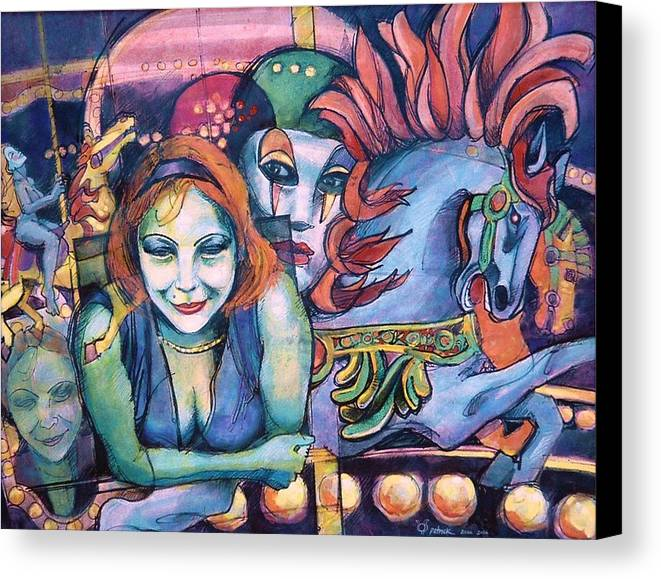 Carnival. Masks. Carousel Horses. Merry-go-round. Free Spirit.sensuality. Circus. Canvas Print featuring the painting Carnival by Patrick Stickney