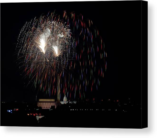4th Of July Canvas Print featuring the photograph Raining Fire by David Hahn
