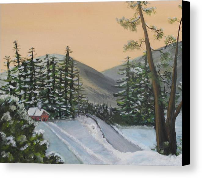 Winter Canvas Print featuring the painting Winter by Lessandra Grimley