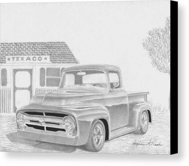 Rooks10904 Drawings Canvas Print featuring the drawing 1956 Ford Pickup Truck Art Print by Stephen Rooks