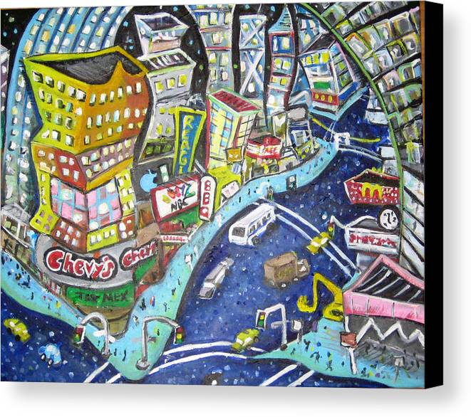 Times Square Canvas Print featuring the painting 42nd And 8th Street by Jason Gluskin