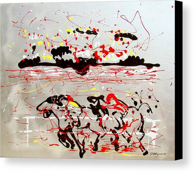 Abstract Canvas Print featuring the mixed media And Down The Stretch They Come by J R Seymour