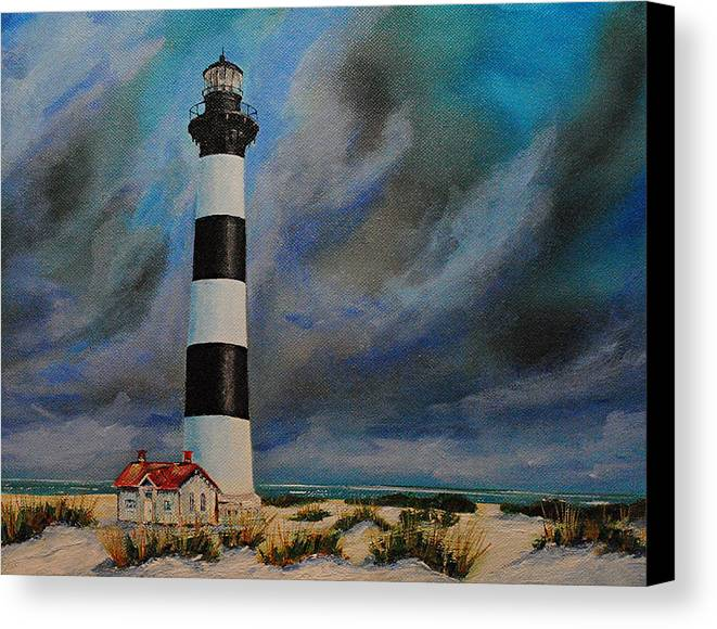 Seascape Canvas Print featuring the painting Bodie Island Lighthouse by Ned Stacey
