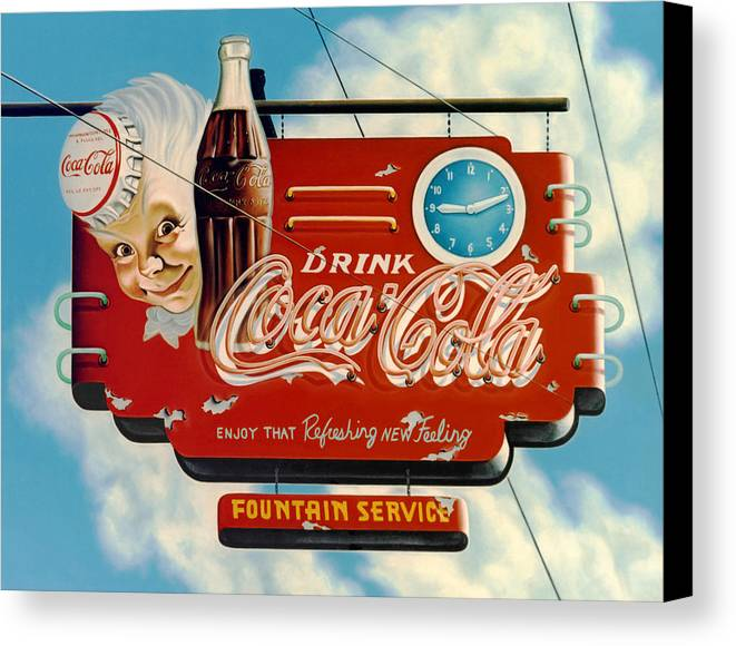 Coca Cola Canvas Print featuring the painting Coca Cola by Van Cordle