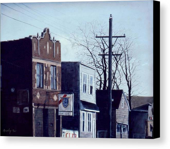 Urban Canvas Print featuring the painting Halsted by William Brody