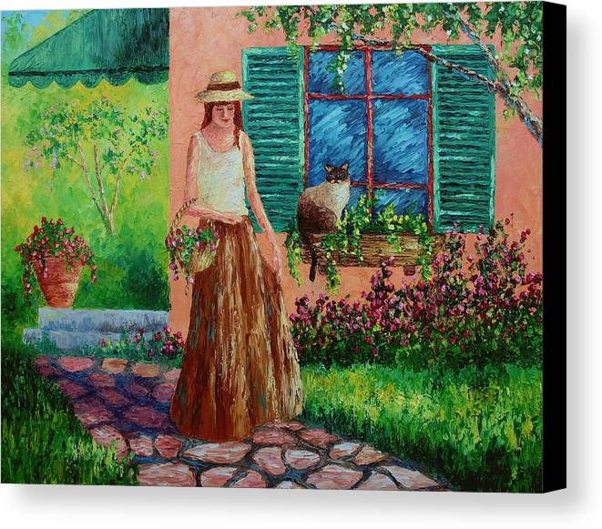 Woman Canvas Print featuring the painting Peaceful Thoughts by David G Paul
