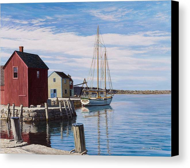 Marine Art Canvas Print featuring the painting Sail Boat At Rockport by Bruce Dumas