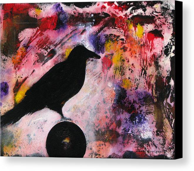 Raven Canvas Print featuring the painting Something At My Window Lattice by Sandy Applegate