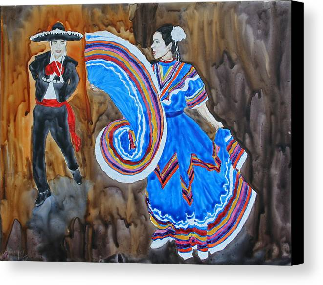 Figures Canvas Print featuring the painting The Dance by Monika Degan