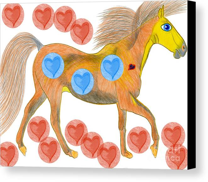 Horses Canvas Print featuring the painting Zelig by Tess M J Iroldi
