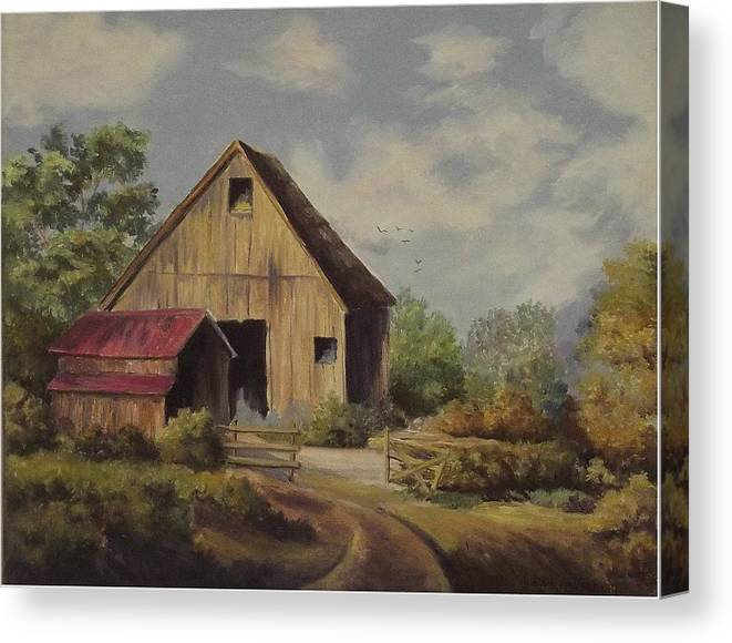 Landscape Canvas Print featuring the painting The Deserted Barn by Wanda Dansereau