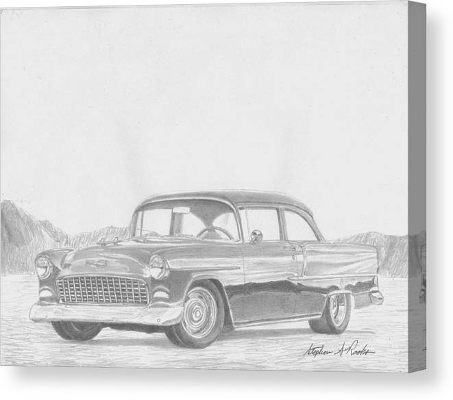 Rooks10904 Drawings Canvas Print featuring the drawing 1955 Chevrolet Bel-air Classic Car Art Print by Stephen Rooks