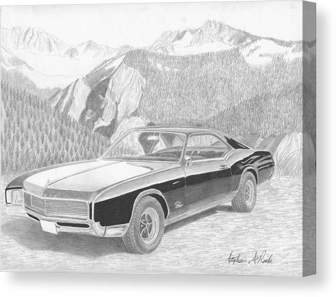 Rooks10904 Drawings Canvas Print featuring the mixed media 1966 Buick Riviera Classic Car Art Print by Stephen Rooks