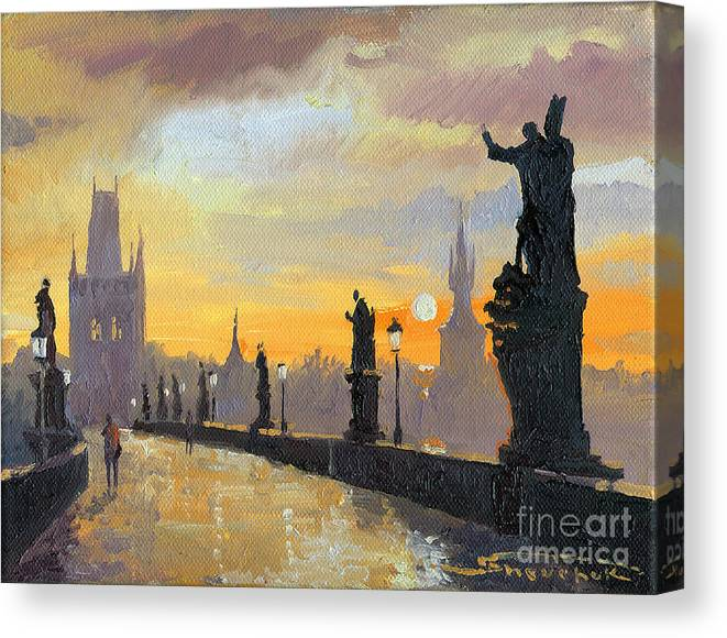 Oil On Canvas Canvas Print featuring the painting Prague Charles Bridge 01 by Yuriy Shevchuk
