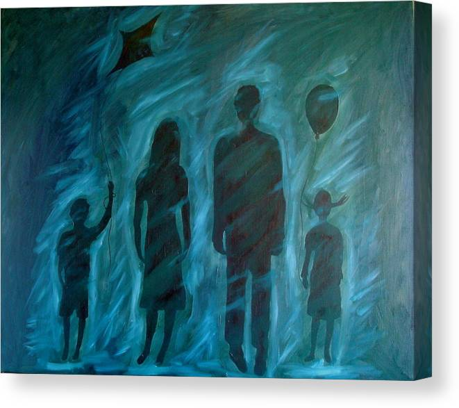 Family Canvas Print featuring the painting Unnecessary by W Todd Durrance