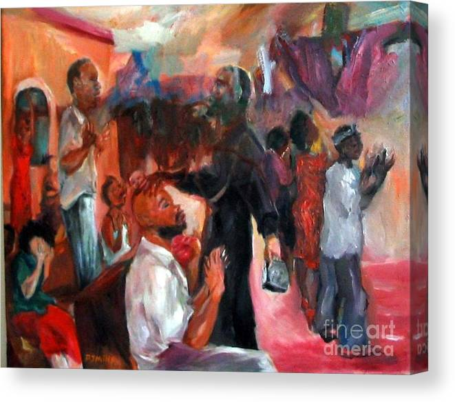 Figures Canvas Print featuring the painting Xorcising Demons And Saving Souls by Patrick Mills