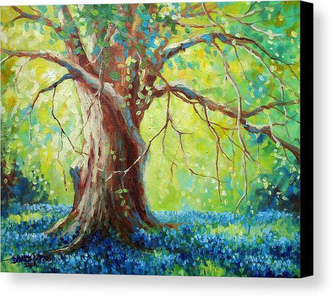 Bluebonnets Canvas Print featuring the painting Bluebonnets Under The Oak by David G Paul