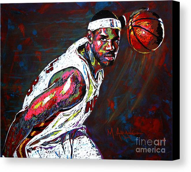 Lebron Canvas Print featuring the painting Lebron James 2 by Maria Arango