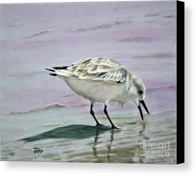 Shorebird Canvas Print featuring the painting Little Bird On The Beach by Jimmie Bartlett