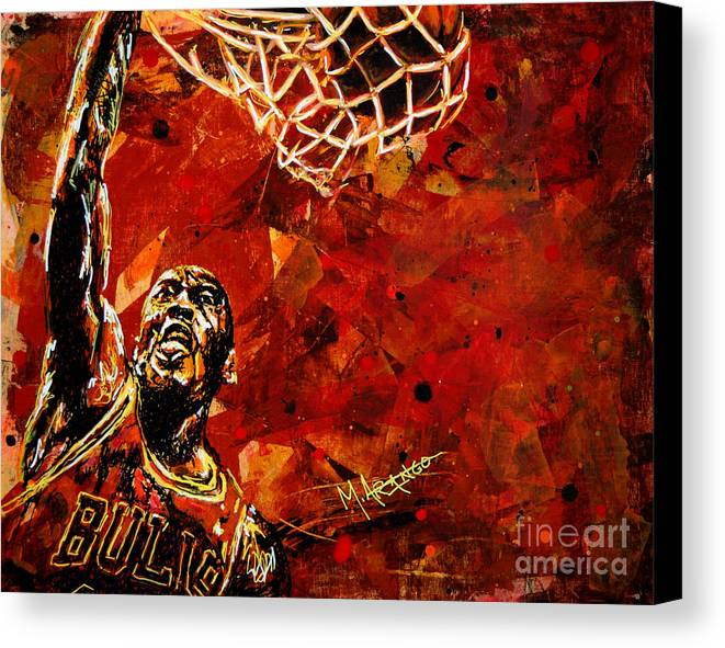 Michael Jordan Canvas Print featuring the painting Michael Jordan by Maria Arango