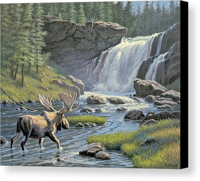 Wildlife Canvas Print featuring the painting Moose Falls by Paul Krapf