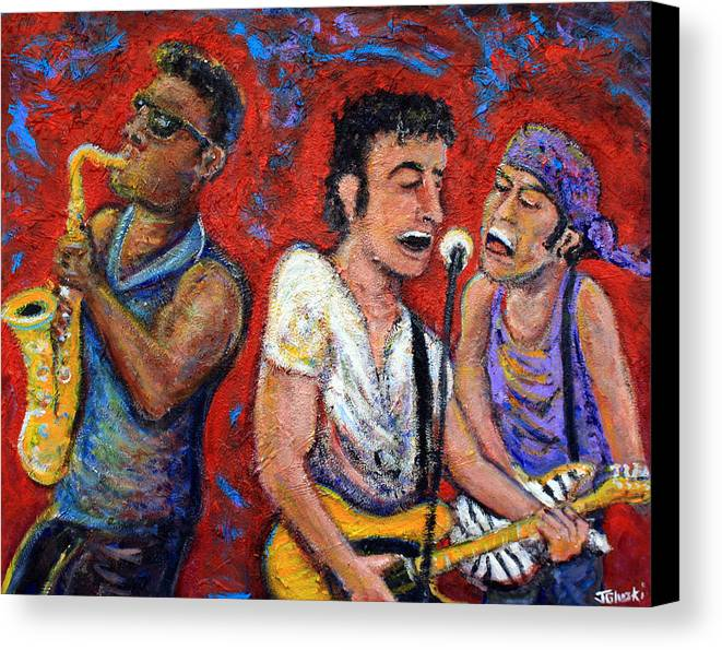 Bruce Springsteen Canvas Print featuring the painting Prove It All Night Bruce Springsteen And The E Street Band by Jason Gluskin