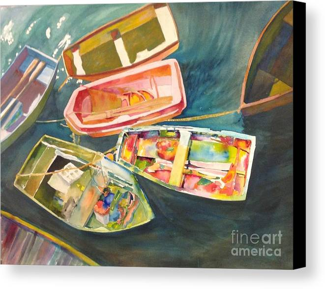 Water Scene Canvas Print featuring the painting Santa Barbara Boats by Wendy Hill