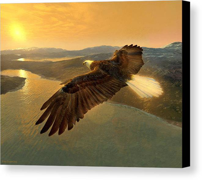Eagle Canvas Print featuring the digital art Soaring Eagle by Ray Downing