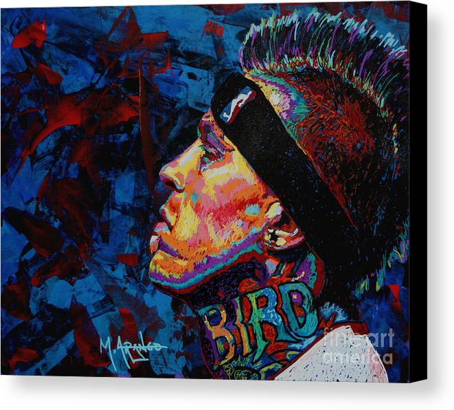 Chris Andersen Canvas Print featuring the painting The Birdman Chris Andersen by Maria Arango