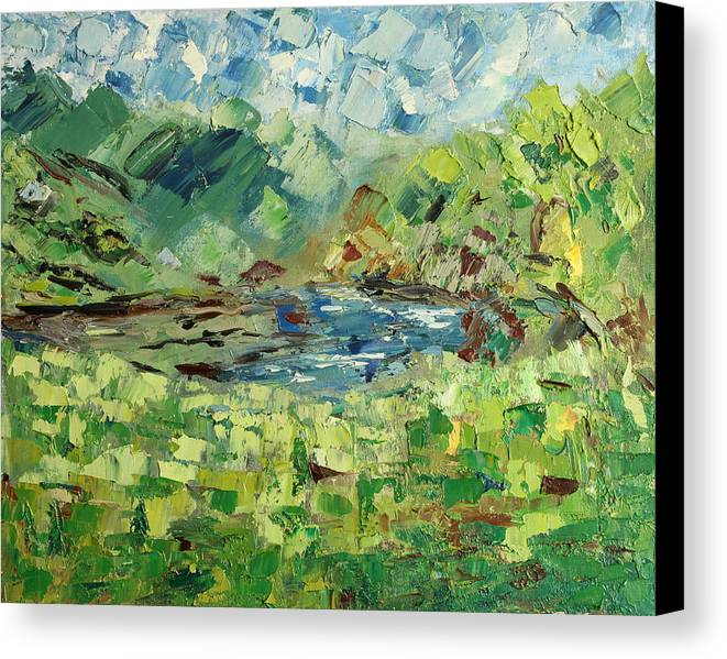 Mountain Canvas Print featuring the painting In The Mountains by Natia Tsiklauri