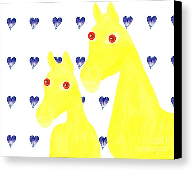 Horses Canvas Print featuring the painting Bee And Bella by Tess M J Iroldi
