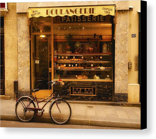 Paris Canvas Print featuring the photograph Boulangerie And Bike by Mick Burkey