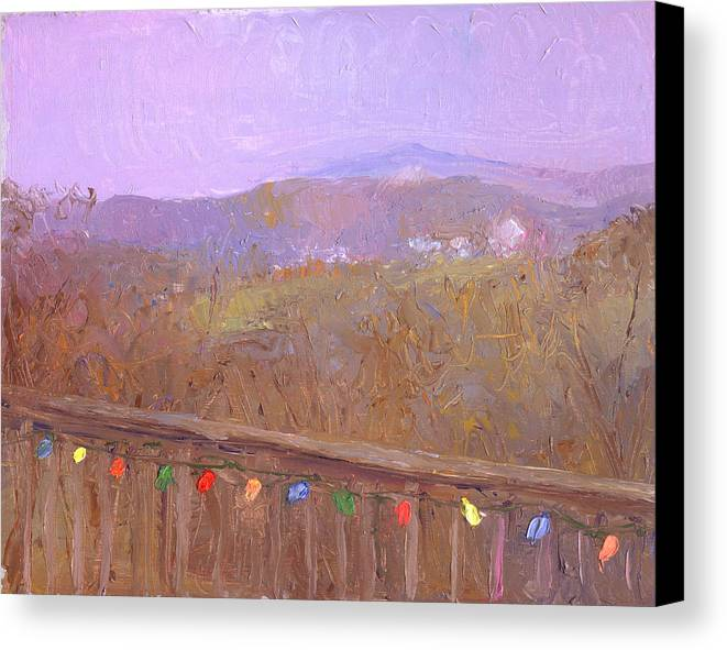 Landscape Canvas Print featuring the painting Christmastime Present by Timothy Chambers