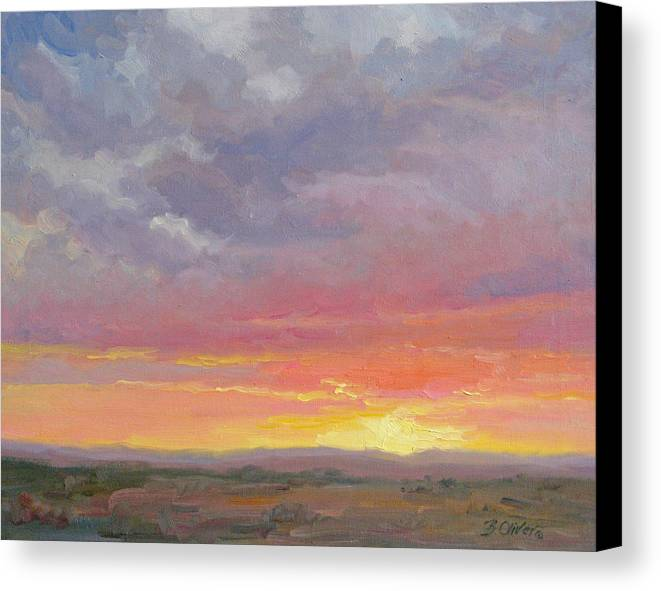 Sunset Canvas Print featuring the painting Desert Sundown by Bunny Oliver